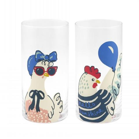 SET OF TWO TUMBLERS HEN PARTY