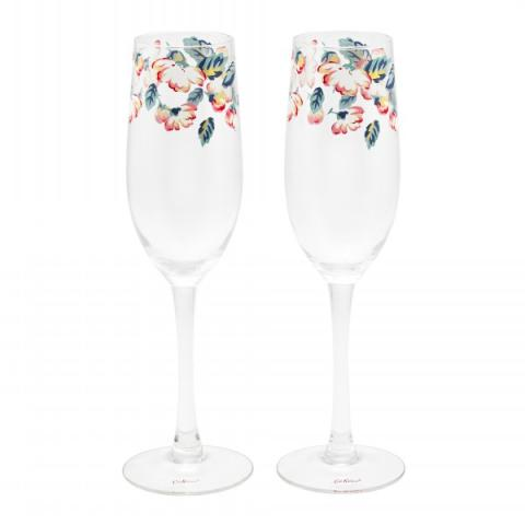 SET OF TWO CHAMPAGNE FLUTES CLIMBING BLOSSOM