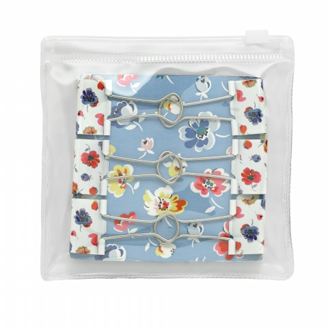 BAG OF 6 PRINTED FOLD OVER CLIPS MALLORY DITSY WHITE