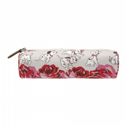 DISNEY TUBE PENCIL CASE PUPPIES & ROSES OFF WHITE
