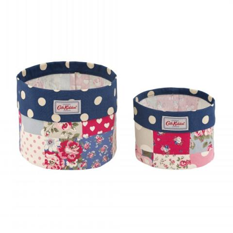 SET OF TWO STORAGE BASKETS PATCHWORK