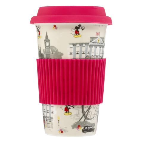 DISNEY CERAMIC TRAVEL CUP MICKEY IN LONDON STONE