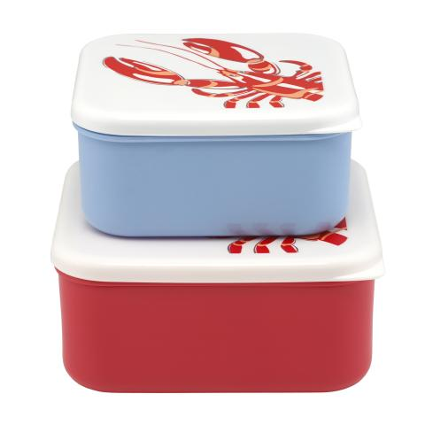 SET OF 2 LUNCH BOXES LOBSTER LOBSTER & FRIENDS OFF WHITE