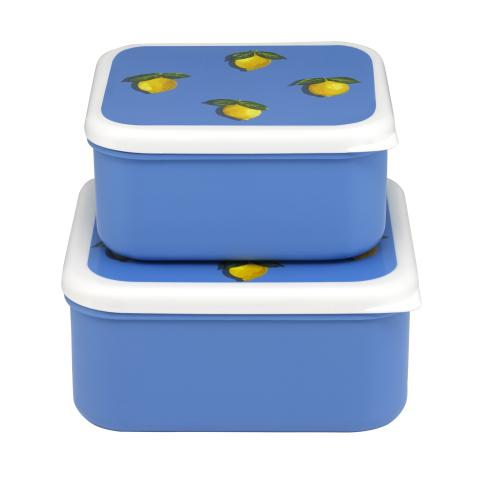 SET OF 2 LUNCH BOXES LITTLE LEMONS RIVIERA BLUE