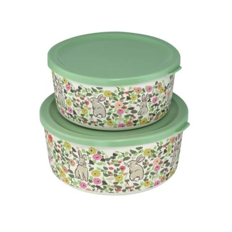 SET OF TWO ROUND BAMBOO LUNCH BOXES BUNNY MEADOW
