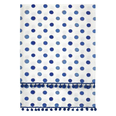 POM POM TABLE RUNNER INKY SPOT CREAM