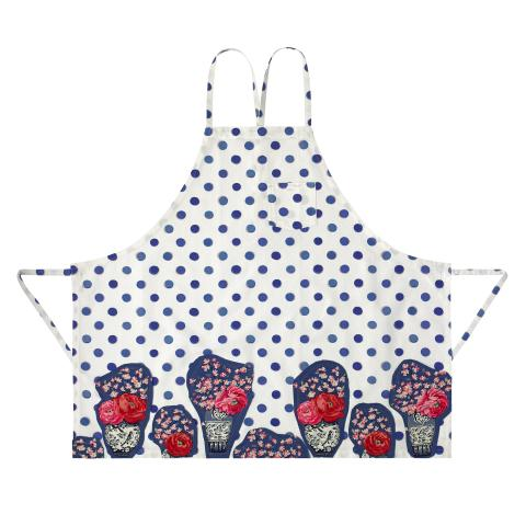 APPLIQUE APRON INKY SPOT CREAM
