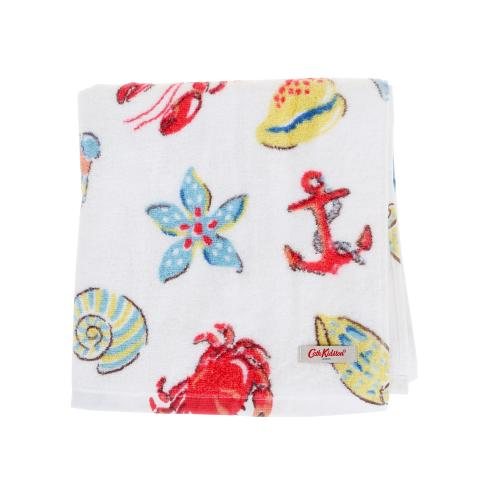 LOBSTER AND FRIENDS WHITE BATH TOWEL