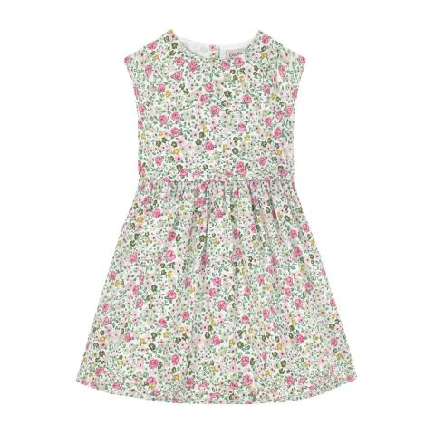 Hedge Rose Cap Sleeve Dress with Pin Tucks