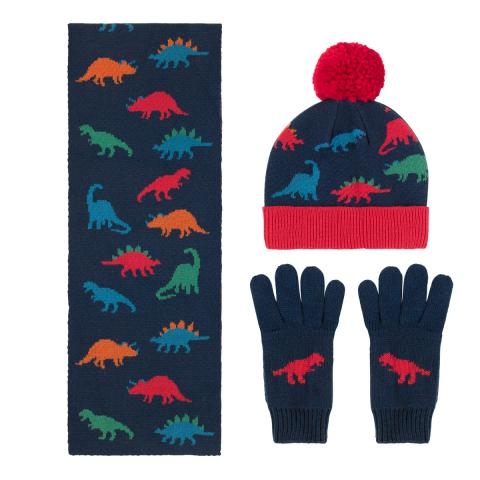 KNITTED HAT, SCARF & MITTENS SET DINO STAMP