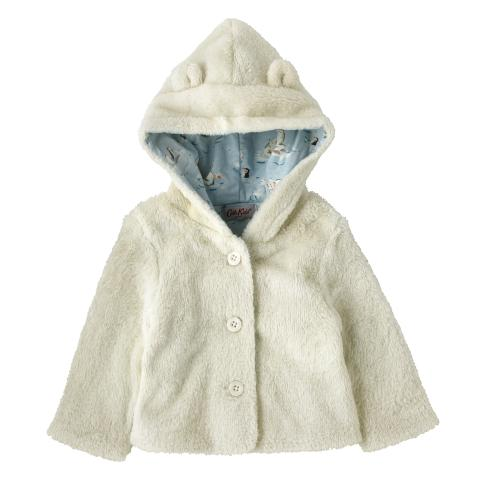 BABY HOODED JACKET OFF WHITE 3-6 M