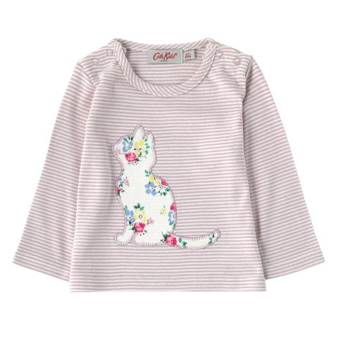 BABY GIRLS LS TOP LITTE STRIPE OFF WHITE 6-12 M