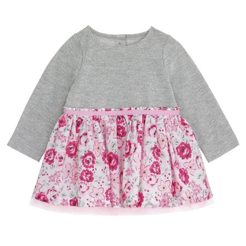 BABY GIRLS SWEAT MIX DRESS BROOMFIELD BLOOMS CREAM PINK 12-18 M