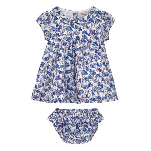 BABY GIRLS COLLAR DRESS & BRIEF BLUEBELLS CREAM BLUE 3-6 M