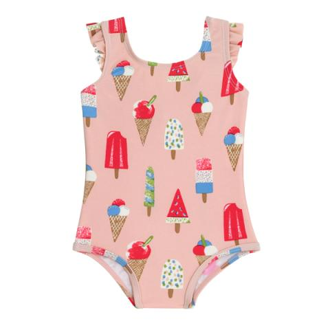 BABY FRILL SWIMSUIT LITTLE ICE CREAM PASTEL PINK 12-18 M