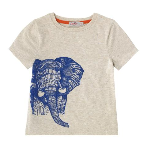 BOYS ELEPHANT T-SHIRT OATMEAL 2-3Y