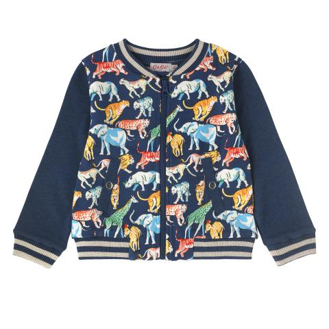 BOYS BOMBER JACKET SAFARI ANIMALS NAVY 2-3Y
