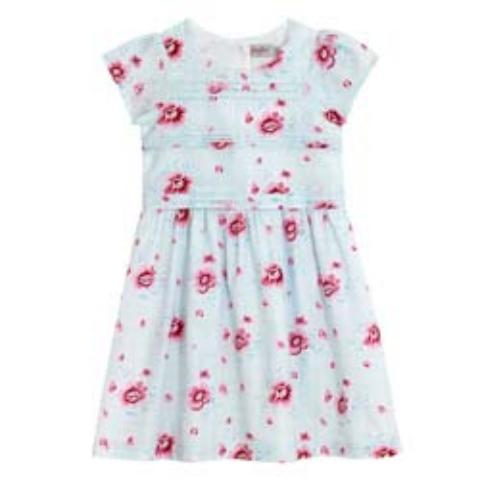 GIRLS PLEATED DRESS WITH CAP SLEEVES SMALL HENLEY BLOOM OFF WHITE PINK