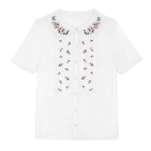 EMBROIDERED IVORY BLOUSE EMBROIDERY IVORY