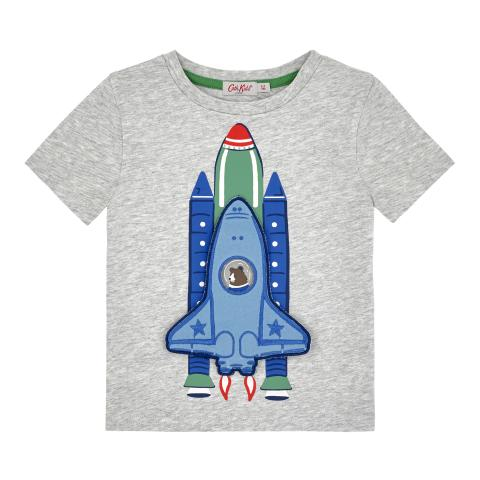 PLAIN WITH PLACEMENT PRINT GREY BOYS SS ROCKET TSHIRT 5-6 YR