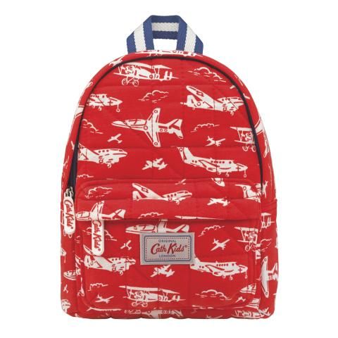 KIDS QUILTED BACKPACK WITH CHEST STRAP MONO PLANES TOMATO RED