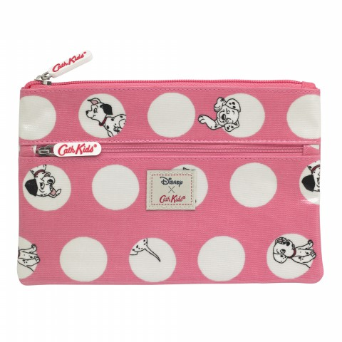 DISNEY KIDS DOUBLE ZIP PENCIL CASE PEEKABOO SPOT BLUSH PINK