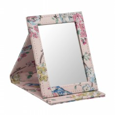 STAND UP COMPACT MIRROR BLOSSOM BIRDS SOFT PINK