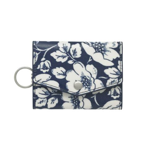 FOLDED CARD HOLDER WITH KEYRING DIDWORTH FLOWERS NAVY