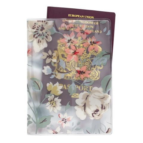 PVC PASSPORT HOLDER PRESSED FLOWERS CLEAR