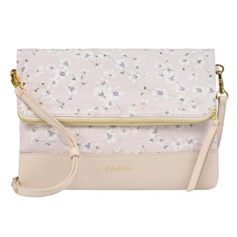 LEATHER FOLDOVER CLUTCH SOLID SHELL PINK