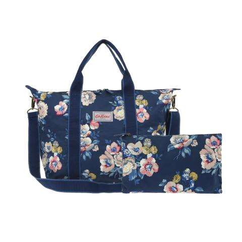 FOLDAWAY SHOPPER BAG WINDFLOWER BUNCH NAVY
