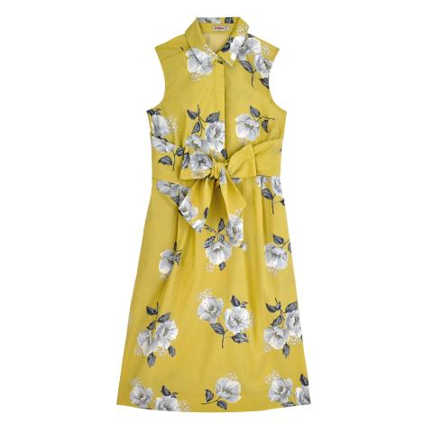 SCATTERED WILD POPPIES EGG YOLK CRISP COTTON DRESS 10