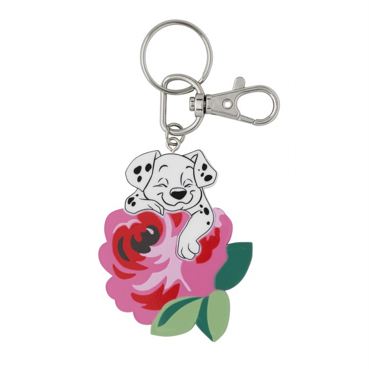 DISNEY RESIN KEYRING SMALL PUPPIES & ROSES OFF WHITE
