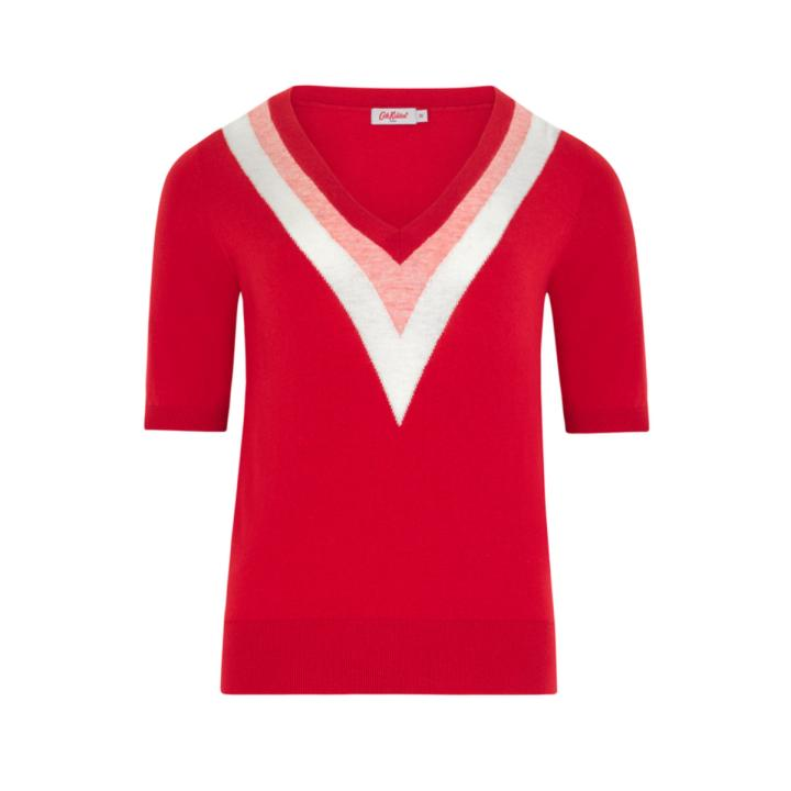 ROSE RED V-NECK KNITTED TOP 12