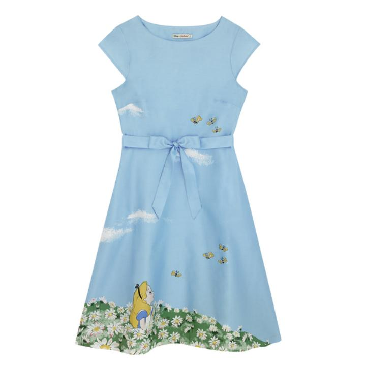 DISNEY COTTON SATEEN DRESS ALICE`S MEADOW PL02 SEA BLUE 8
