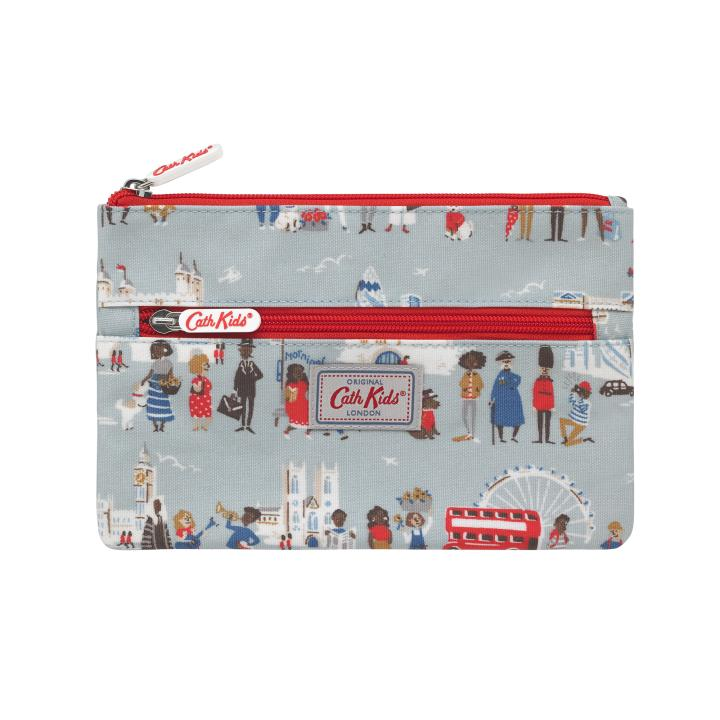 KIDS DOUBLE ZIP PENCIL CASE LONDON PEOPLE